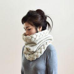 Dick & dicht Snood stricken / Kreis Schal aus Wolle gesponnen, natürliche ungefärbte Merinowolle gewachsen in den USA hergestellt. Das rustikale und