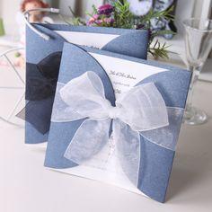 Blue Gate Fold Wedding Invitation With Ribbon Bow