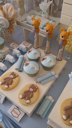 Cute cupcakes and cookies at a teddy bear baby shower party! See more party planning ideas at CatchMyParty.com!