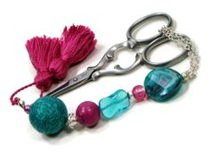 Summer Garden Scissor Fob, Turquoise, Teal, Pink, Rose, Cross Stitch, Needlepoint ,Sewing, Quilting, Gift, Beaded, DIY Crafts
