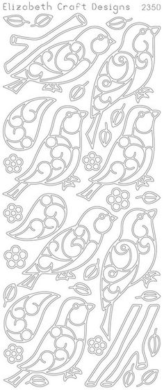 Birds & Branches Peel-Off Stickers-Silver By Elizabeth Craft Designs Kirigami, Colouring Pages, Coloring Books, Beaded Embroidery, Embroidery Patterns, Stencils, Paper Art, Paper Crafts, Metal Embossing