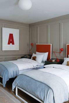 House & Garden UK Boys Shared Bedroom In East London Kids Bedroom Ideas Designs Kids Bedroom, Bedroom Decor, Kids Rooms, Bedroom Storage, Room Kids, Bedroom Lamps, Wall Lamps, Bedroom Lighting, Design Bedroom