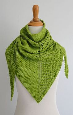 This fast shawl is worked from the top down in two stitch patterns creating an asymmetrical shape and look. One side of the triangle is worked in stockinette stitch while the other side is worked in a simple open work.