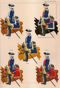 French Line Cavalry as per the ordinance of top Left to Bottom right; Royal Etranger, Cuirassiers du Roi, Royal Cravattes, Royal Roussillon & Royal Piemont, by André Jouineau. French Armed Forces, Frederick The Great, Early Modern Period, Seven Years' War, Confederate States Of America, My War, Louis Xvi, Mystery Of History, French Army