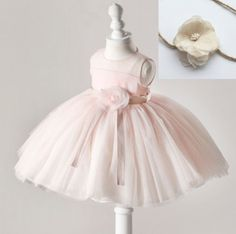 154efccabe Newborn Girls Pink Dress w  Matching Baby Headband Pink Easter Dress Girls  Easter Dresses