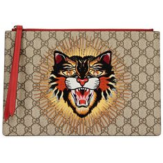 Gucci Angry Cat Monogrammed Pouch (8.101.360 IDR) ❤ liked on Polyvore featuring bags, brown leather pouch, leather pouch bag, leather zipper pouch, leather pouch and brown bag