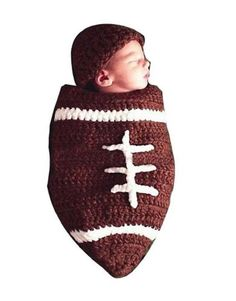 Hunnt® Baby Football Cocoon with Beanie Hat Set Photography Photo Props  Brown 89d283638fe1