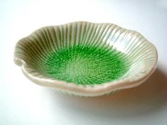 Ceramic Plate: Round Green Lotus Leaf sauce dish light by iammie