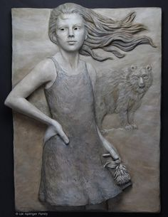 """""""Standing her ground"""" ©Lori Kiplinger Pandy bas relief sculpture in forton of girl with bear"""