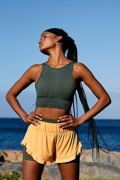 Butterfly Pose, High Rise Shorts, Small Waist, Boho Shorts, Active Wear, Free People, Layers, Casual, Clothes