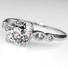 1 1/2 Carat Diamond Antique Engagement Ring Platinum. This is the kind of ring that would make my heartbeat race every time I looked at my finger.