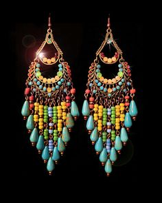 wel zeer groot ! maar mooie kleuren Genuine Turquoise Magnesite Gemstone Beaded Chandelier Earrings- Large, Ethnic, Native Inspired-MTO. $52,00, via Etsy.