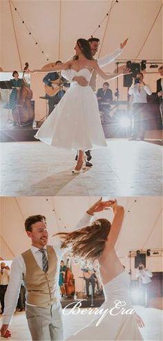 df86484cac 2 Pieces Ankle Length Ivory Satin Lace Wedding Dresses, Detachable Wedding  Dresses