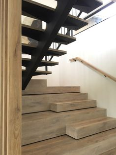 #EuroOak #cladding #staircase #shadowline Building Stairs, Home Stairs Design, Rustic Apartment, House Stairs, Cladding, Modern Rustic, Home Decor, Decoration Home, Room Decor