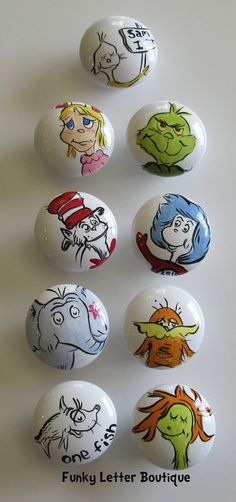 Hand Painted Dr. Seuss Cat in the Hat Drawer Knobs Pulls Nursery Art. $8.50, via Etsy.