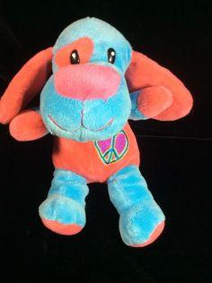 Dan Dee Blue Pink Peace Sign Puppy Dog Plush Dandee Stuffed Soft Toy #DanDee