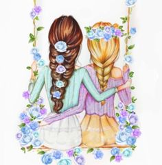 Best Friend Drawings, Girly Drawings, Art Drawings For Kids, Love Drawings, Easy Drawings, Friendship Pictures, Bff Pictures, Best Friend Pictures, Pictures To Draw