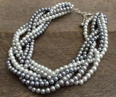 SPRING SALE Silver Grey White Pearl Necklace Braided Cluster on Silver Chain by haileyallendesigns