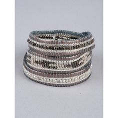 Nakamol Layered Thread And Wrap Bracelet ($39) ❤ liked on Polyvore featuring jewelry, bracelets, pewter, bracelet bangle, wrap bracelet, metallic jewelry, pewter jewelry and bracelet jewelry