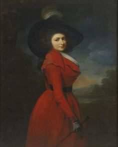 Sir Martin Archer Shee, P.R.A DUBLIN 1769 - 1850 BRIGHTON PORTRAIT OF MISS ELIZABETH JEMIMA BLAKE, THREE-QUARTER LENGTH, WEARING A RED HUNTING-HABIT AND FEATHERED HAT