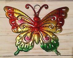 "Vintage Look Metal Art Purple Butterfly Wall Hanging Home Decor Sculpture 13/"""
