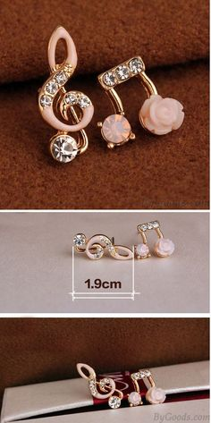 Fashion Unsymmetrical Diamond-bordered Music Notes Solid Flower Shining Women's Earring Studs is so cute ! #flower #earring #studs #rose #cute