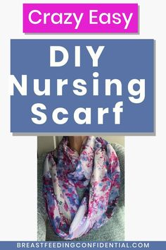 Make this super cute DIY infinity nursing scarf cover. Make several to have a convenient nursing cover to coordinate with everything you wear when you near to cover up while nursing. No-sew nursing scarf instructions included. Breastfeeding In Public, Breastfeeding Problems, Breastfeeding Clothes, Breastfeeding And Pumping, Nursing Clothes, Nursing Tops, Nursing Cover Scarf, Infinity Nursing Scarf, Nursing Covers