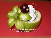 Fruit Carving Arrangements and Food Garnishes: How To Make Apple Vase with flower top