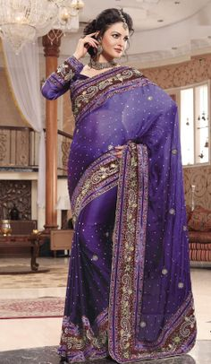 Exclusive Designer Georgette with velvet border saree with stone & bids work .Matching contrast Blouse pieces available with it. Pakistani Outfits, Indian Outfits, Indian Clothes, Georgette Sarees, Kurti, Lehenga, Anarkali, Purple Saree, Wedding Outfits