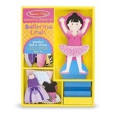 Melissa and Doug - Ballerina Leah Magnetic Dress-Up: This wooden magnetic play set makes it easy to find pretty ballet dress-up combinations with tops-and-tutus, plus accessories for stage-ready looks your little ballerina will love. The sturdy wooden storage tray comes stocked with one wooden magnetic doll, wooden stand, and 33 magnetic garments and accessories to mix and match. #alltotstreasures #melissaanddoug #ballerinaleahmagneticdress-up #woodentoys #dressup #magneticdressup