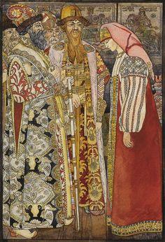 Russian Folklore Illustration by Ivan Bilibin. Ivan Bilibin, Folklore, Eslava, Russian Folk Art, Russian Style, Russian Beauty, Russian Culture, Conte, Art Auction