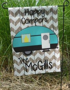 4ad745b2f285c Monogrammed Garden Flags - Great for home or travel - Happy Camper Flags -  Customize your Lettering Saying