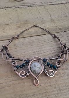 Copper Wire Necklace With Natural StonesCopper by Tangledworld: