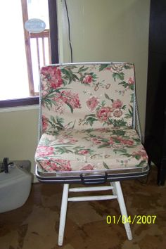 Cave City Welcome Center Suitcase Chair-Created by using old suitcase,and chair legs to make a unique chair. Come by and check out our DIY facility. Suitcase Chair, Cave City, Old Suitcases, Accent Chairs, Legs, Unique, Check, Diy, Furniture