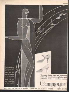 Fashion magazine print, original, 1920s Vogue, Cammeyer shoes, art deco illustration, reverse is Shagmoor topcoats, 2-sided - PD000023