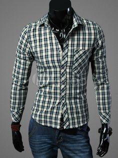 Long Sleeves Plaid Cotton Men's Shirt - Milanoo.com