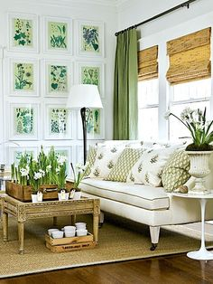 I pinned this room before - LOVE IT  never noticed the indoor bulbs, so pretty. also love the blinds, drapes, pillows and the botannical prints