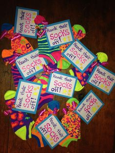 Knock their socks off! One of the items in gift bags for traveling dance team. Cheer Team Gifts, Dance Team Gifts, Cheer Camp, Cheer Coaches, Volleyball Gifts, Cheer Gift Bags, Cheer Treats, Softball Team Gifts, Dance Good Luck Gifts