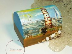 Kagylós ládika tengerész, tengerparti hangulattal + ajándék, Dekoráció, Otthon, lakberendezés, Dísz, Tárolóeszköz, Meska