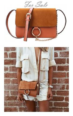 Faye Small Leather And Suede Shoulder Bag - Tan Chloé Bu6Rf