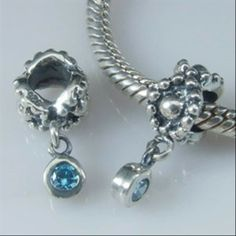 Daisy with Deep Blue Topaz Dangle Authentic Sterling Silver Solid Core Charms Fits Troll Beads