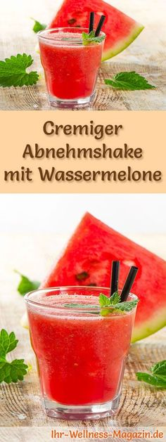 Abnehmshake mit Wassermelone, mit oder ohne Eiweiß und weitere leckere Abnehmsh… Slimming shake with watermelon, with or without egg whites and other tasty slimming shakes, protein shakes & smoothies to make yourself … Low Carb Shakes, Protein Shakes, Smoothie Proteine, Smoothie Recipes, Protein Smoothies, Shake Recipes, Healthy Drinks, Food And Drink, Egg Whites