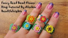 Fancy Seed Bead Flower Ring. good for left over beads ~ Seed Bead Tutorials