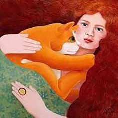 Girl with Ginger Cat – From our 'Call of the Wild' card range by Vicky Mount. We feel that with this range Vicky has captured the essence of cats, personality, behaviour and their interaction with the people they own. I Love Cats, Crazy Cats, Illustrations, Illustration Art, Chat Web, Art Fantaisiste, Red Cat, Ginger Cats, Cat Drawing