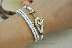 Anchor bracelet Single anchor bracelet White wax by BraceletStreet, $3.50