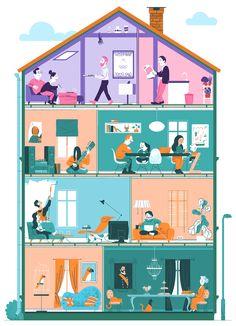 House Illustration, People Illustration, Graphic Design Illustration, Digital Illustration, Isometric Art, Caricature Artist, Motion Design, Illustrators, Character Design