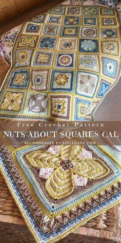 Nuts about Squares CAL Free crochet Patterns Mandala Au Crochet, Crochet Motifs, Crochet Blocks, Granny Square Crochet Pattern, Afghan Crochet Patterns, Crochet Squares, Knitting Patterns, Granny Squares, Crochet Afghans