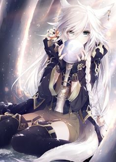 Anime picture 				598x834 with  		original 		shunki teru (matataki_c) 		long hair 		tall image 		blue eyes 		looking at viewer 		fringe 		white hair 		animal ears 		holding 		tail 		braid (braids) 		animal tail 		sunlight 		hair over one eye 		bent knee (knees) 		snow 		fox ears 		fox tail 		single braid