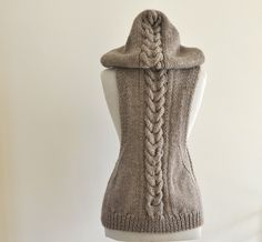 Sweater Vest Hooded Vest Sweater Hand Knit Pale by reflectionsbyds