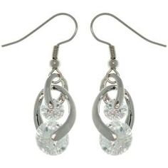 @Overstock - These swirling earrings each showcase two round-cut cubic zirconia stones in your choice of clear, purple, pink, green or blue. The earrings are crafted of silvertone base metal with rhodium plating and secure with hook findings.http://www.overstock.com/Jewelry-Watches/Silvertone-Swirling-Cubic-Zirconia-Dangle-Earrings/5742821/product.html?CID=214117 $15.49